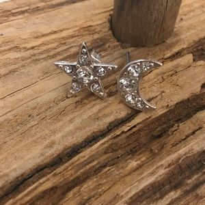 New moon & star stud rhinestone earrings silver